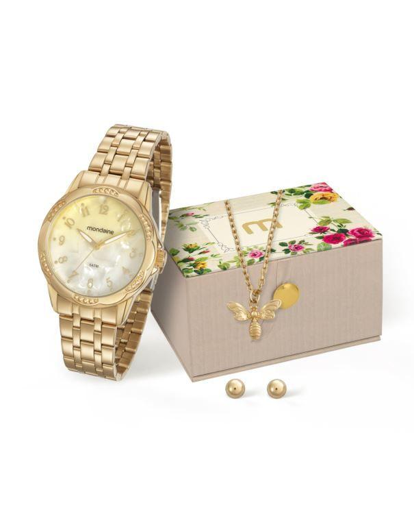 Kit Relógio Mondaine Feminino + Cordão e Brincos 99220LPMVDE1K1