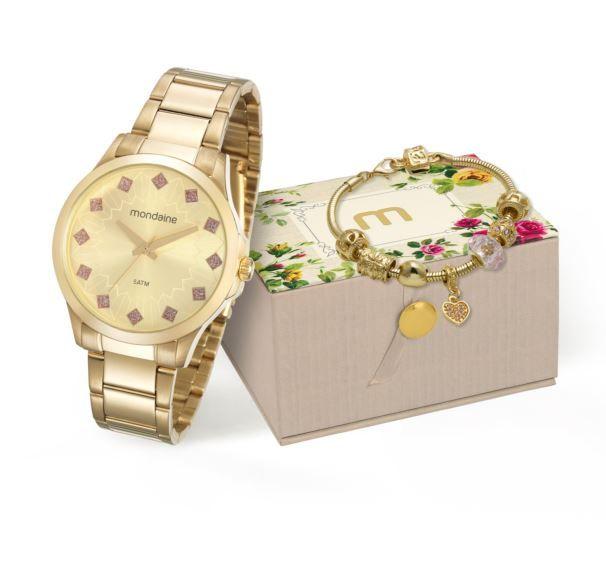Kit Relógio Mondaine Feminino + Pulseira 53549LPMKDE2K1