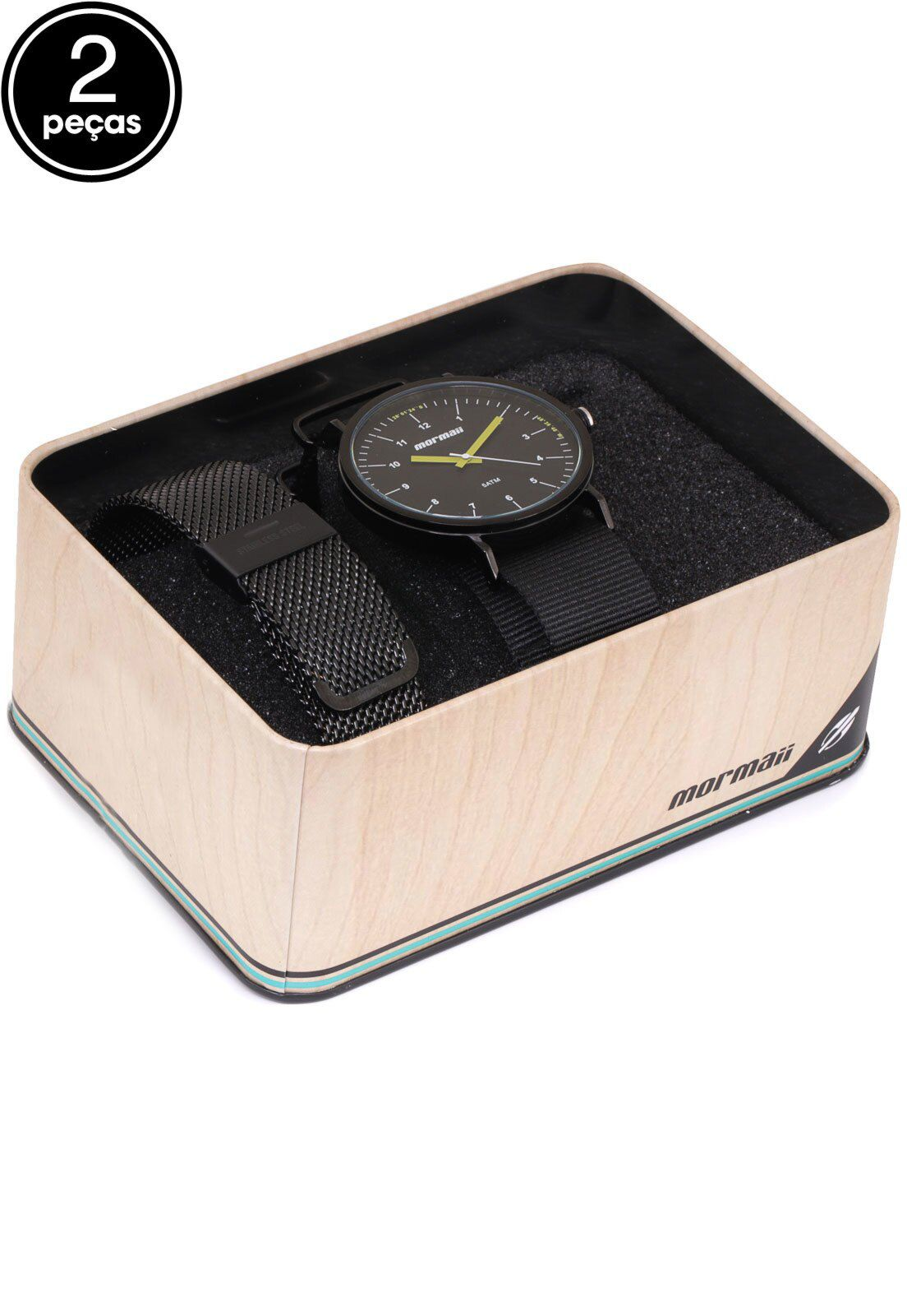 Kit Relógio Mormaii Troca pulseiras On The Road Preto Masculino MO1L32AA/T4P
