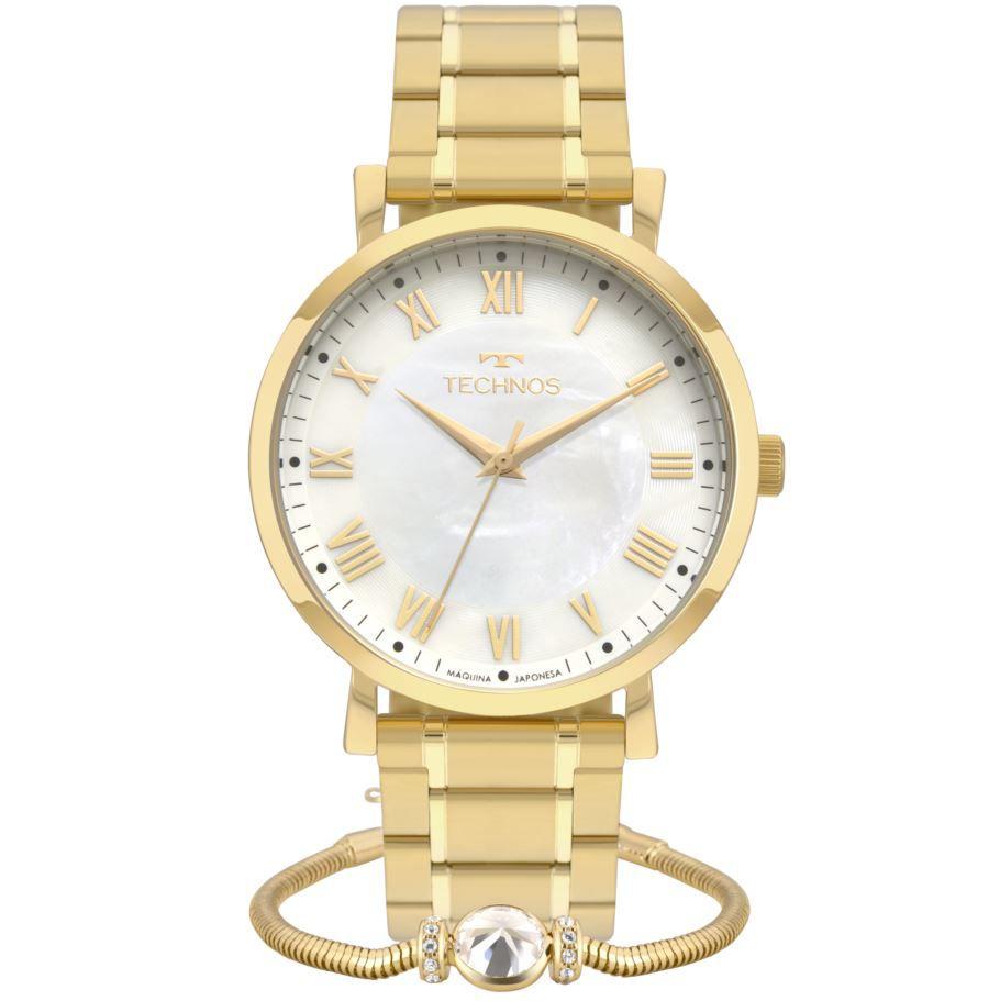 Kit Relógio Technos Dress Dourado Feminino + Pulseira 2035MQZ/K4B