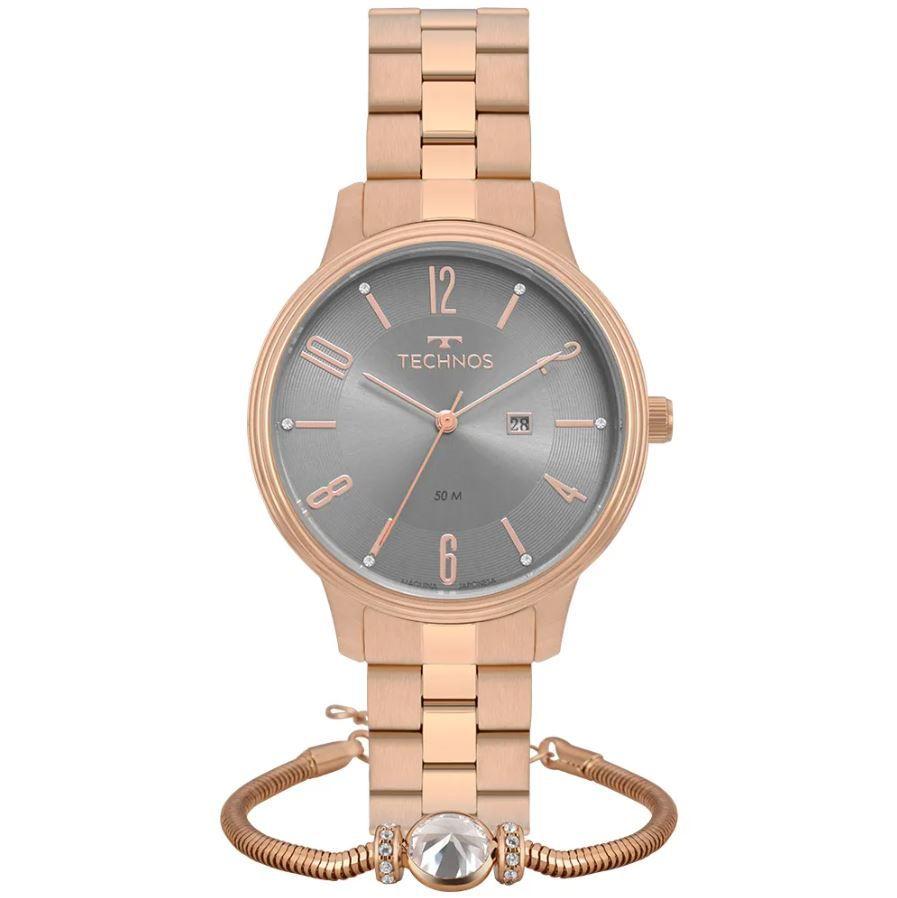 Kit Relógio Technos Elegance Rose Feminino 2015CCH/K4V
