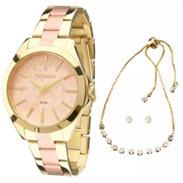 Kit Relógio Technos Feminino Trend com Pulseira e Brincos 2039BI/K5T