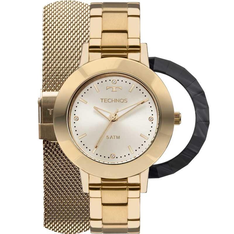 Kit Relógio Technos Feminino Unique Troca Pulseiras e Aros  2035MLJ/T4X