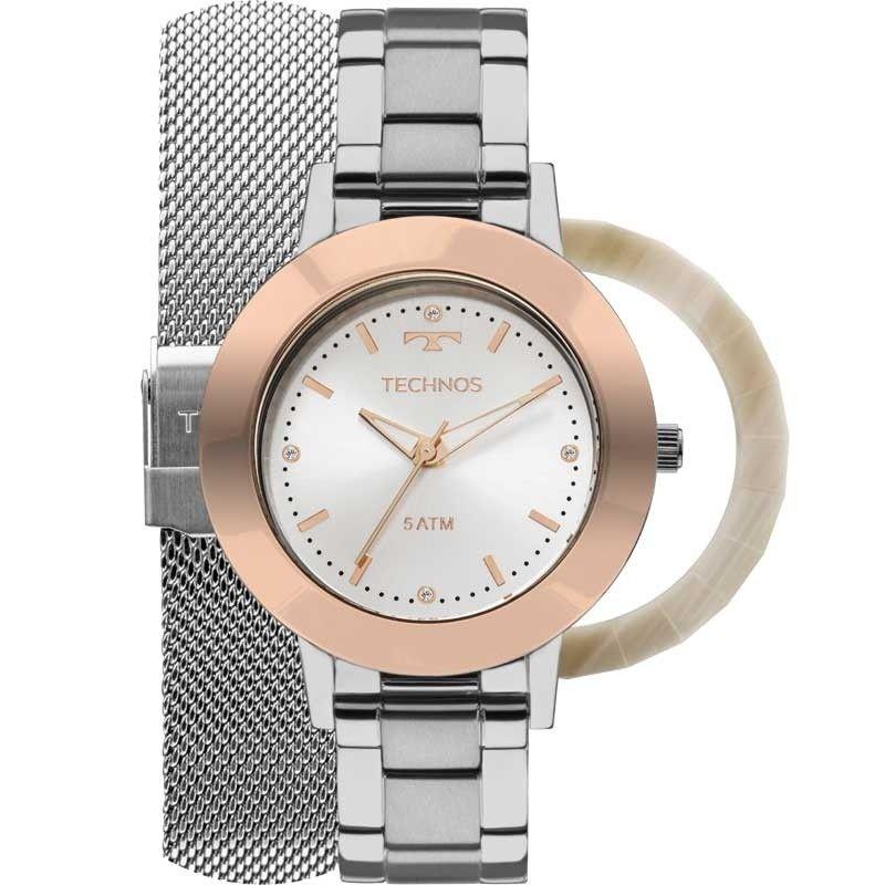Relógio Technos Unique Troca Pulseiras e Aros Feminino 2035MLK/T1K