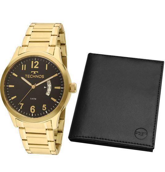 Kit Relógio Technos Masculino + Carteira 2115KTP/K4P