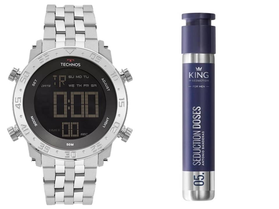 Kit Relógio Technos Masculino Perfume King of Seduction