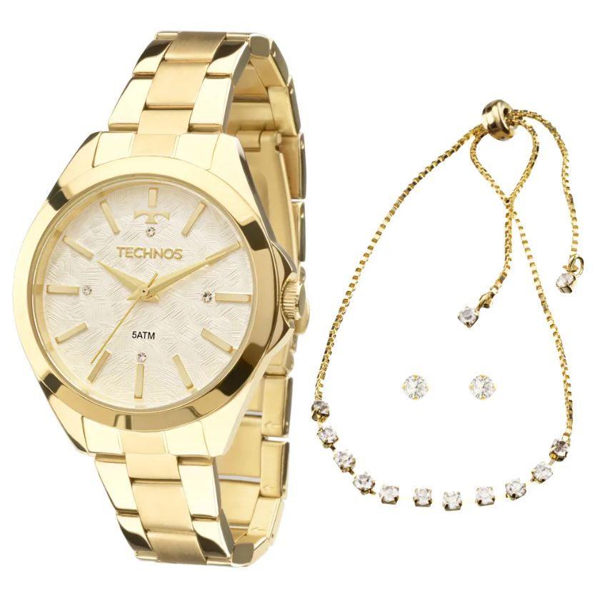 Kit Relógio Technos Trend Feminino com Pulseira e Brincos 2039BK/K5B