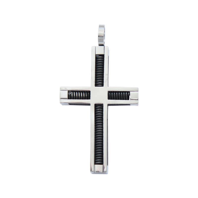 Pingente Aço Cruz Quadrado c/ Espiral Interno 45x27mm