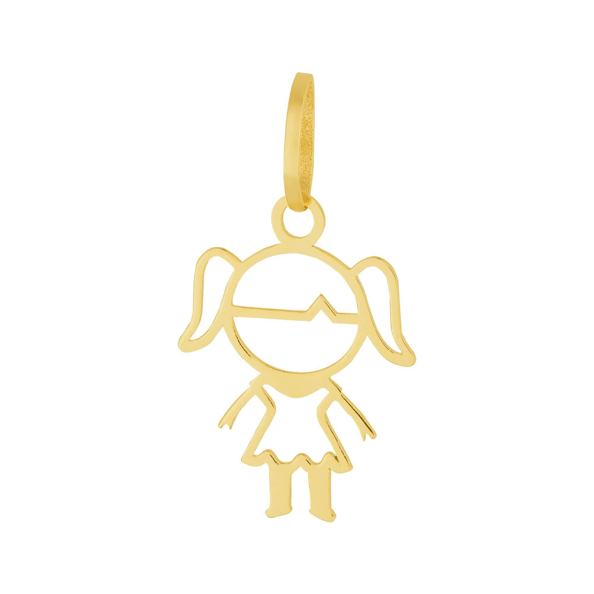 Pingente Aço Dourado (Gold IPG) Menina / Boneca / Filha 332460