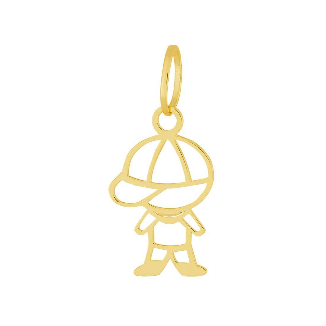 Pingente Aço Dourado (Gold IPG) Menino / Boneco / Filho 332461