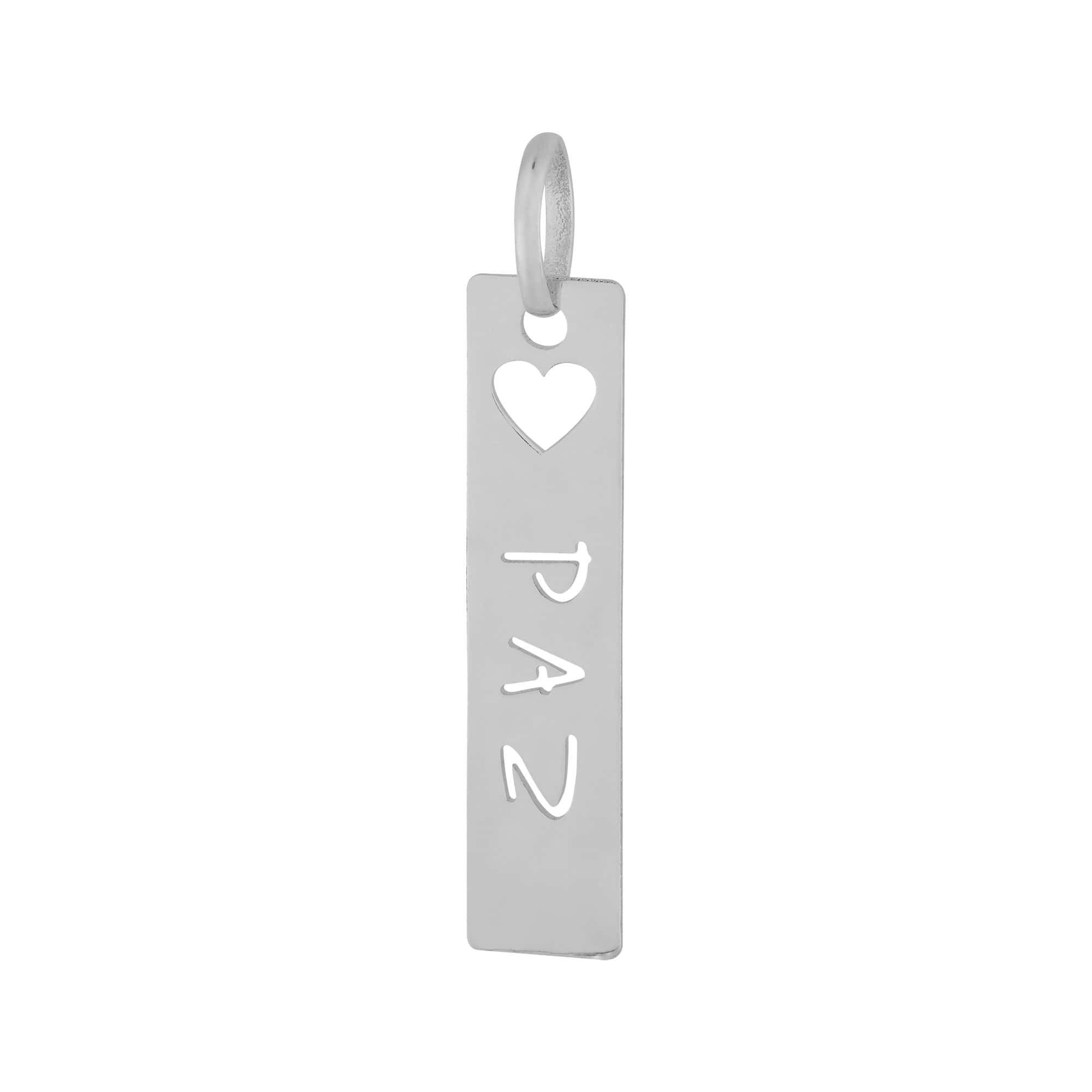 Pingente de Aço Placa Feelings Paz 28x6mm 318008