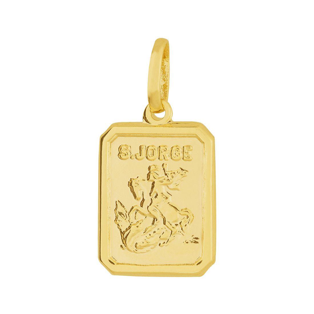 Pingente Aço Dourado (Gold IPG) São Jorge Dourado 15x11mm 311333