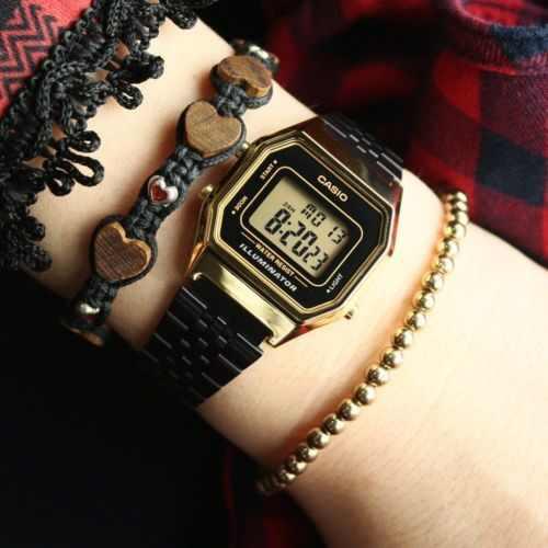 Relógio Casio Vintage Black Gold Unissex LA680WEGB-1ADF