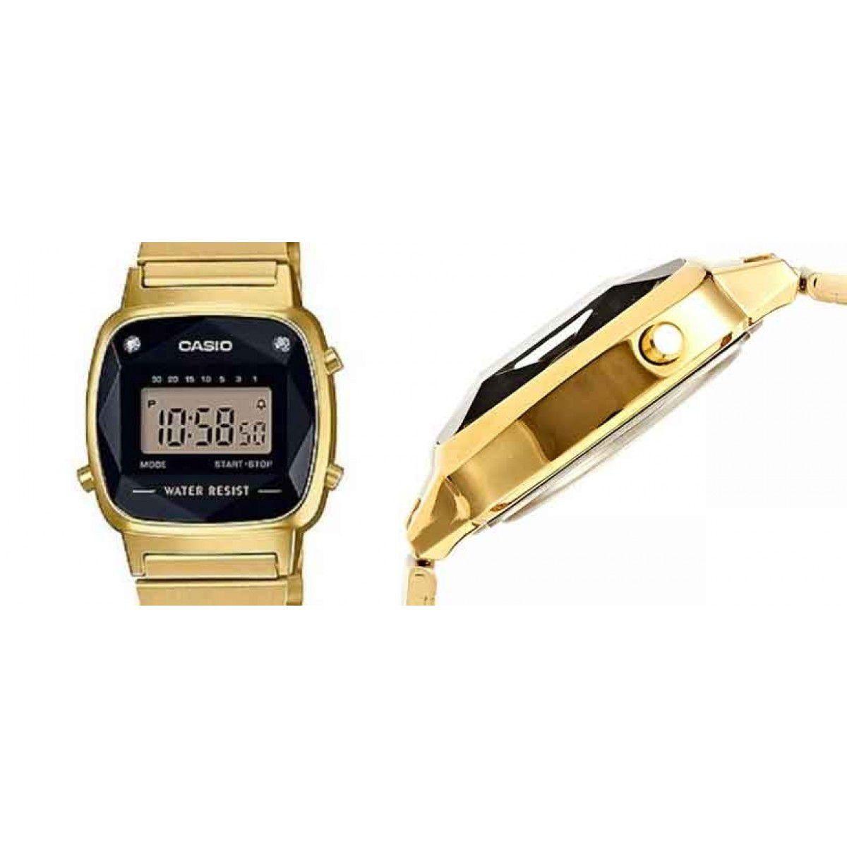 05983f34f39 ... Relógio Casio Vintage Diamonds Dourado Feminino LA670WGAD-1DF ...