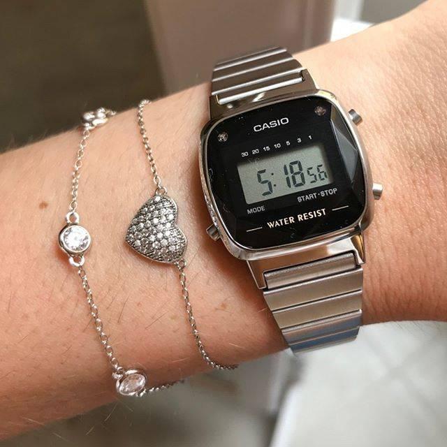 Relógio Casio Vintage Diamonds Prata Feminino LA670WAD-1DF