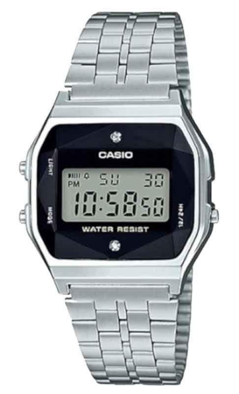 cb882bc3903 Relógio Casio Vintage Diamonds Prata Unissex A159WAD-1DF - Relógios ...