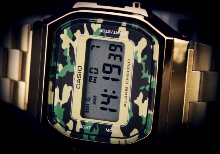 Relógio Casio Vintage Unissex Dourado Camuflado A168WEGC-3DF