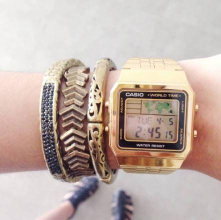 Relógio Casio Vintage World Time Dourado Unissex A500WGA-1DF