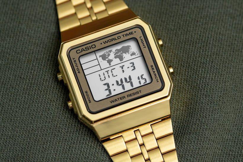 Relógio Casio Vintage World Time Dourado Unissex A500WGA-9DF