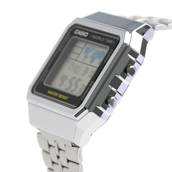 Relógio Casio Vintage World Time Prata Unissex A500WA-1DF
