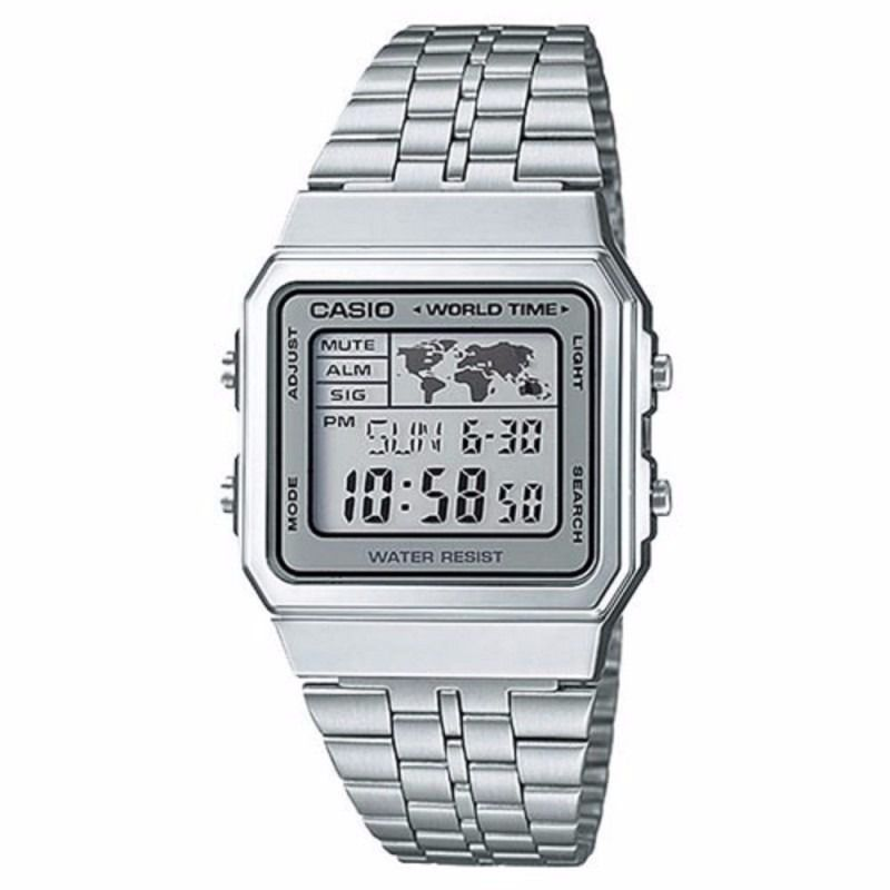 Relógio Casio Vintage World Time Prata Unissex A500WA-7DF