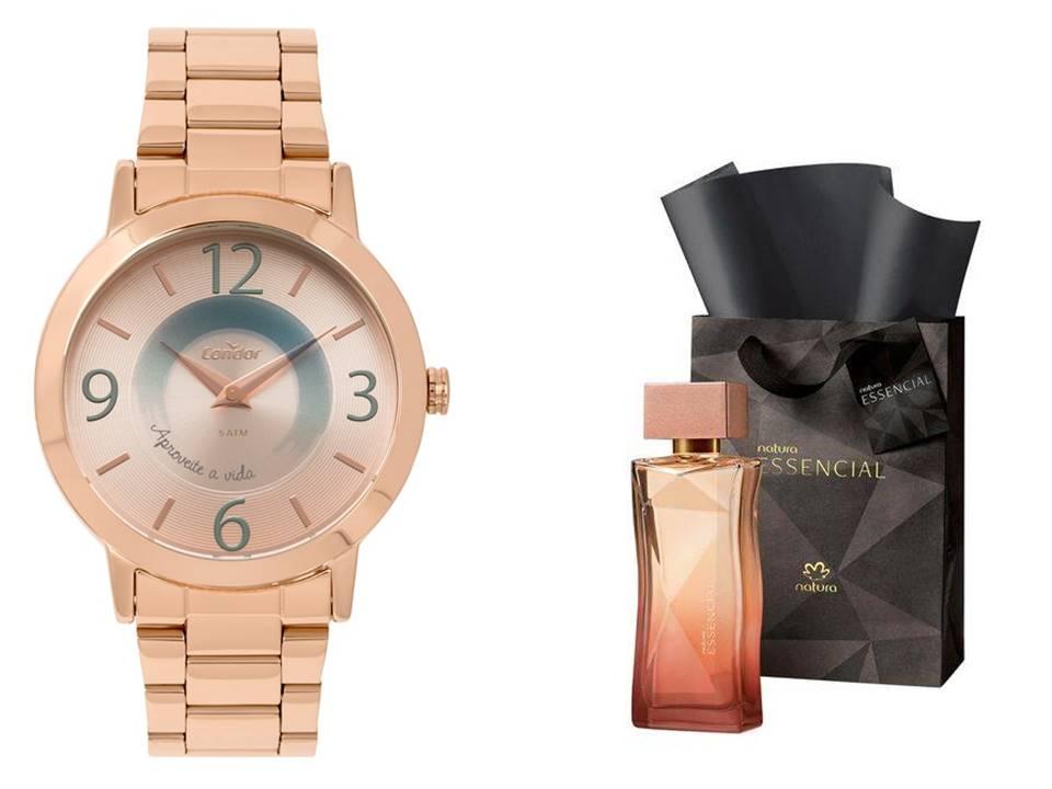Relógio Condor Feminino CO2034AC/K4J + Perfume Essencial 100ml