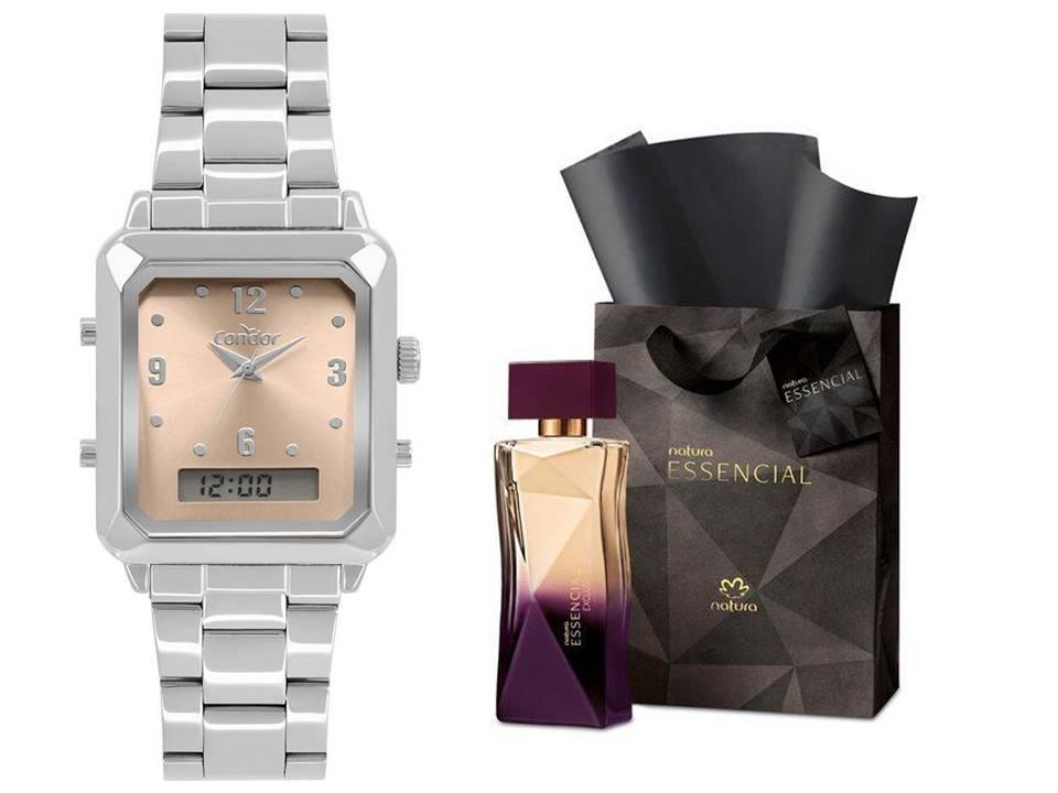 Relógio Condor Prata COBJ3718AC/4M + Perfume Essencial Exclusivo