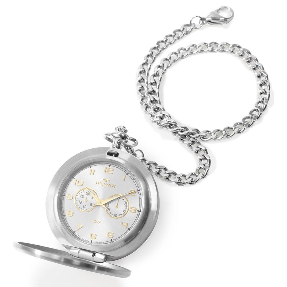 Relógio De Bolso Technos Heritage Prata VD77AD/1K