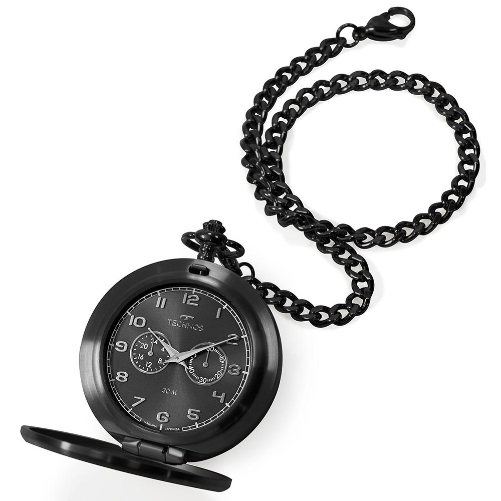 Relógio De Bolso Technos Masculino Heritage Preto VD77AB/4P
