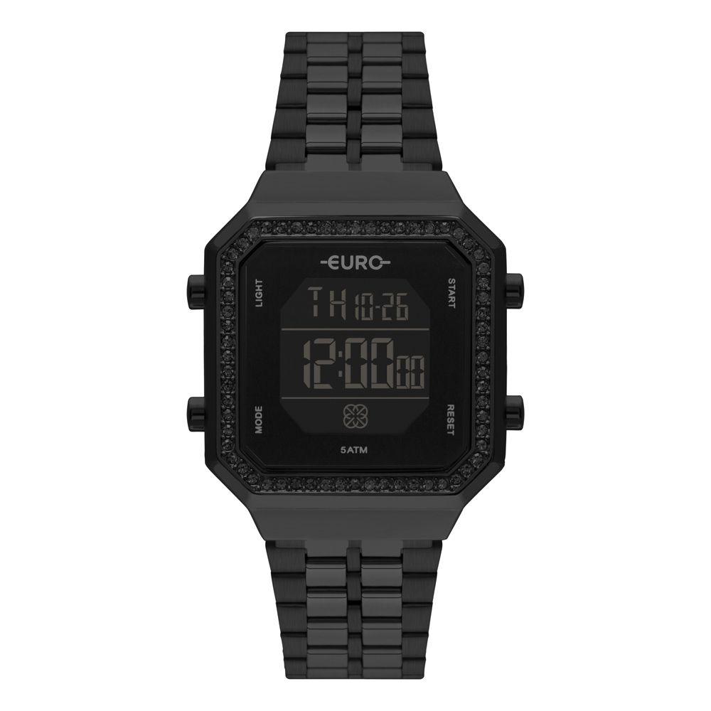 Relógio Euro Fashion Fit Diamond Preto Feminino  EUBJK032AC/4P