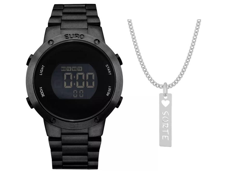 Relógio Euro Feminino Fashion Fit EUBJ3279AB/4P + Corrente Sorte