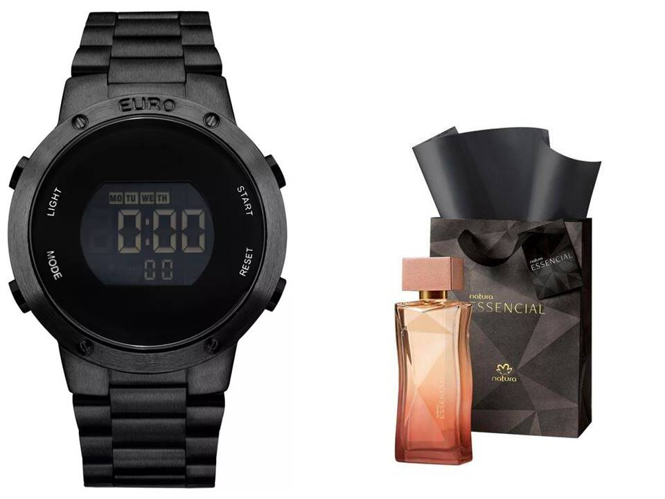 Relógio Euro Feminino + Presente Natura Essencial Feminino