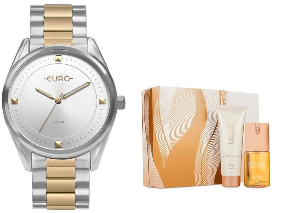 Relógio Euro Feminino EU2036YOC/5K + Presente Natura Essencial Floral