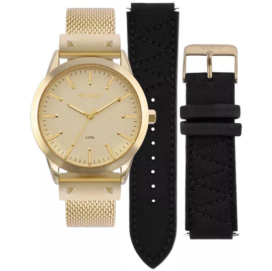 5f9d4bc03 Relógio Euro Neoprene Feminino Dourado Troca Pulseiras EU2035YOK/4D ...