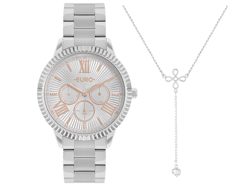 Relógio Euro Prata Feminino EU6P29AHR/3K + Colar de Aço Gravata