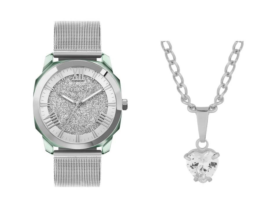 Relógio Feminino Euro Collection Prata EU2035YST/7K + Colar Aço Ponto de Luz Coração 7x6mm 45cm