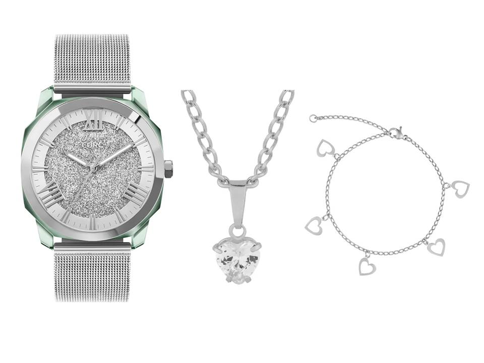 Relógio Feminino Euro Collection Prata EU2035YST/7K + Colar Aço Ponto de Luz Coração e Pulseira Aço Coração Vazado