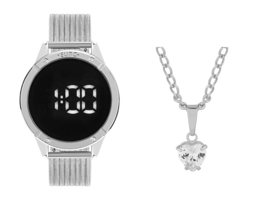 Relógio Feminino Euro Fashion Fit Touch Prata EUBJ3912AD/4F + Colar Aço Ponto de Luz Coração 7x6mm 45cm