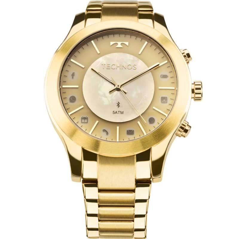 Relógio Feminino Technos Connect Híbrido Dourado 753AE/4X
