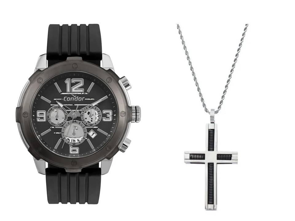Relógio Masculino Condor COJP25AH/3P + Corrente Aço e Pingente Aço Cruz Quadrado