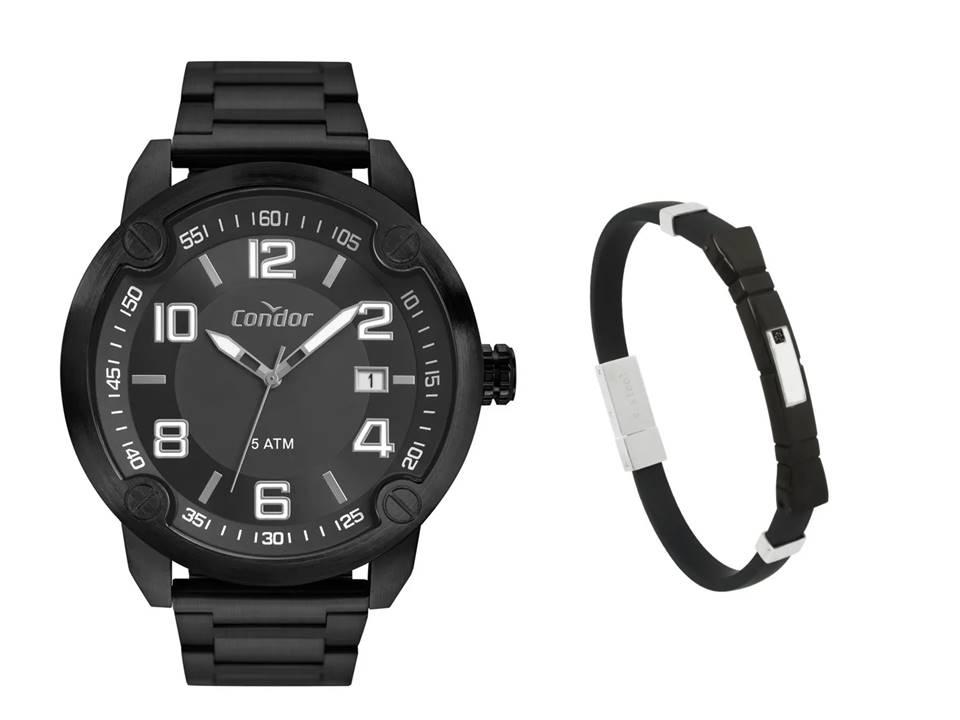 Relógio Masculino Condor Preto CO2415BR/4P + Pulseira de Aço Infinite Black