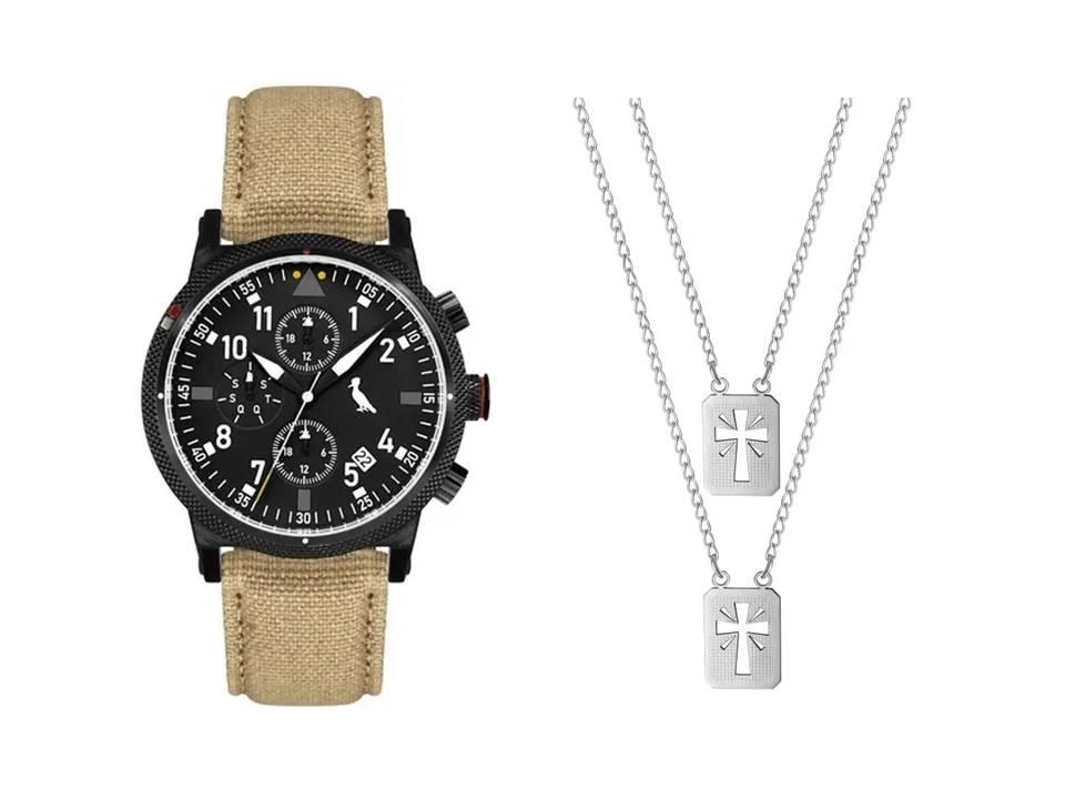 Relógio Masculino Reserva Multifunção Bege REJP15AC/2P + Escapulário Aço Cruz com Brilho 14x11mm 60cm