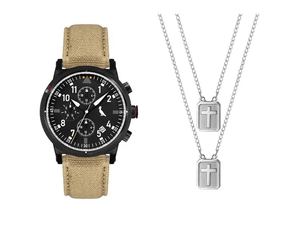 Relógio Masculino Reserva Multifunção Bege REJP15AC/2P + Escapulário Aço Cruz em Relevo 14x11mm 60cm