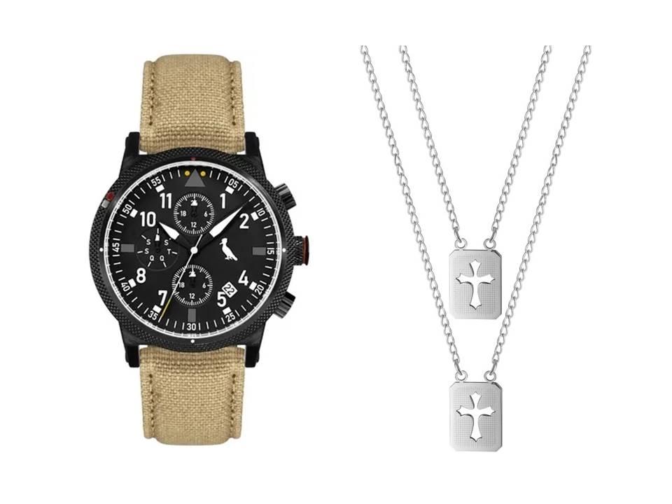Relógio Masculino Reserva Multifunção Bege REJP15AC/2P + Escapulário Aço Cruz Romana Vazada 14x11mm 60cm