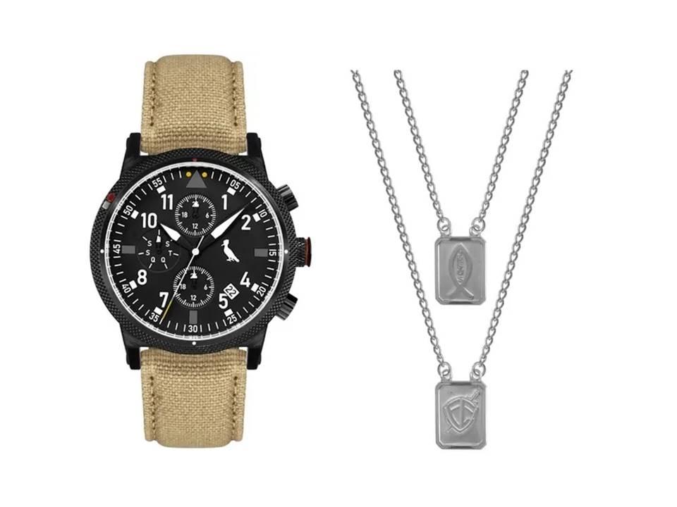 Relógio Masculino Reserva Multifunção Bege REJP15AC/2P + Escapulário Aço Jesus e Simbolo Fé 14x11mm 60cm