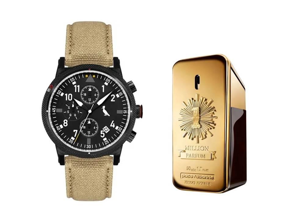Relógio Masculino Reserva Multifunção Bege REJP15AC/2P + Perfume 1 Million Paco Rabanne Masculino Eau de Parfum 50 ML