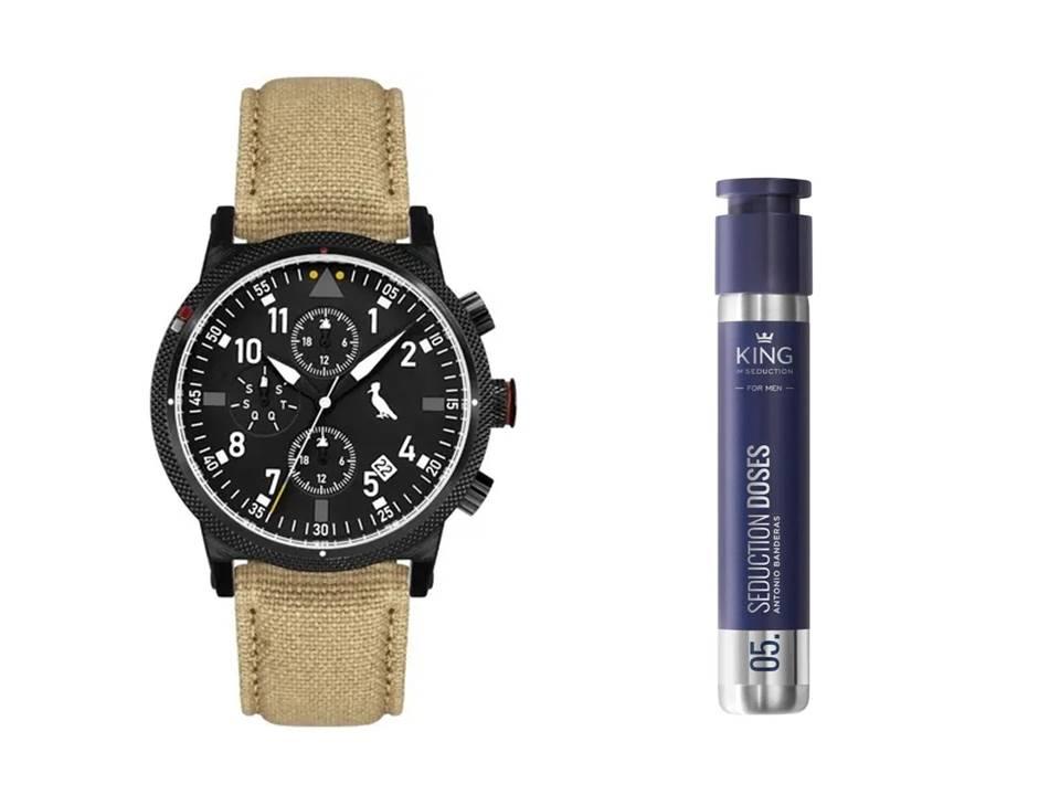 Relógio Masculino Reserva Multifunção Bege REJP15AC/2P + Perfume Antonio Banderas King of Seduction Dose Masculino