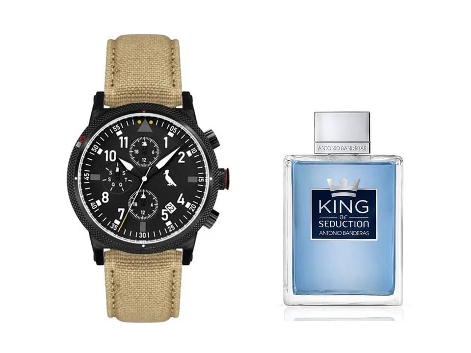 Relógio Masculino Reserva Multifunção Bege REJP15AC/2P + Perfume Antonio Banderas King Of Seduction Masculino