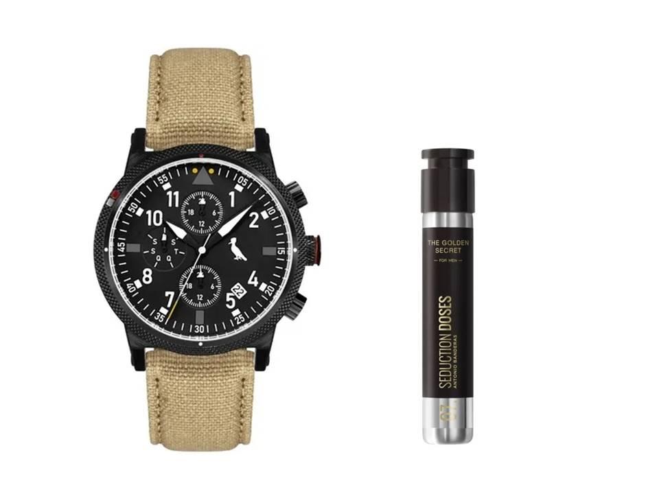 Relógio Masculino Reserva Multifunção Bege REJP15AC/2P + Perfume Antonio Banderas The Golden Secret Dose Masculino EDT 30ml