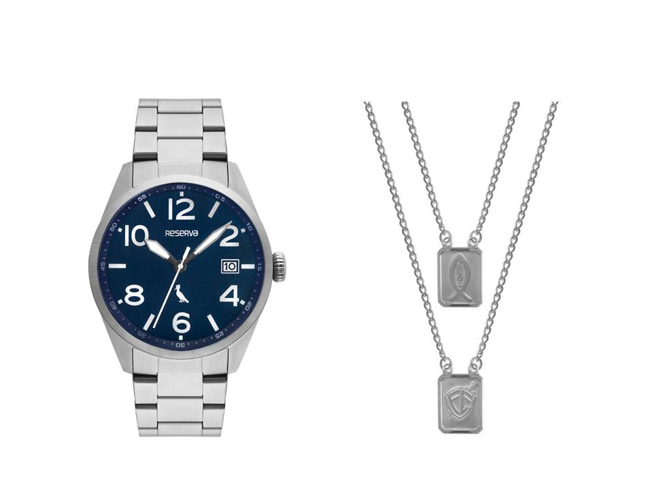 Relógio Masculino Reserva Prata RE2415AA/4K + Escapulário Aço Jesus e Simbolo Fé 14x11mm 60cm